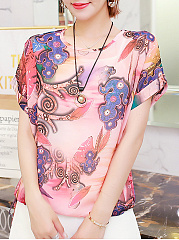 Spring Summer  Polyester  Women  Floral Printed Blouses