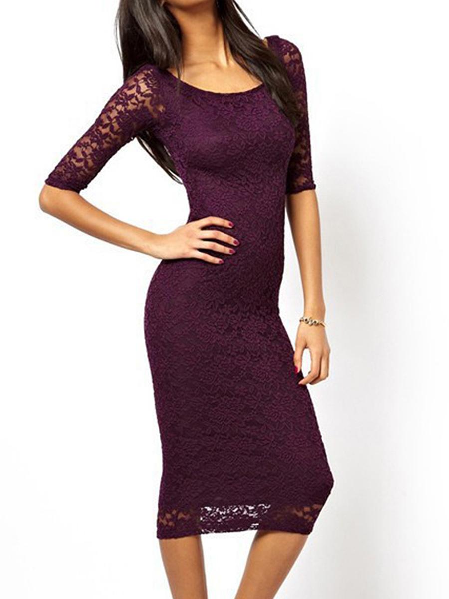 Round Neck Plain Lace Bodycon Dress. Round ...