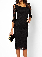 Round Neck  Plain  Lace Bodycon Dress