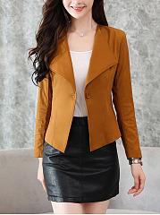 Lapel-Single-Button-Plain-Jacket