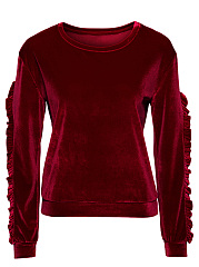 Round-Neck-Ruffle-Trim-Velvet-Plain-Sweatshirt