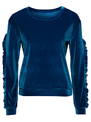 Round Neck Ruffle Trim Velvet Plain Sweatshirt