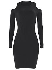 Open-Shoulder-Plain-Sweater-Dress