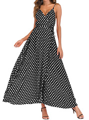 Spaghetti Strap  Belt  Printed Maxi Dress