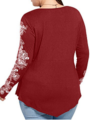 V-Neck  Flounce  Plain Printed  Long Sleeve Plus Size T-Shirts
