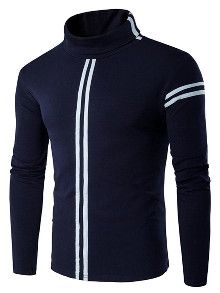 Turtleneck Striped Men T-Shirt