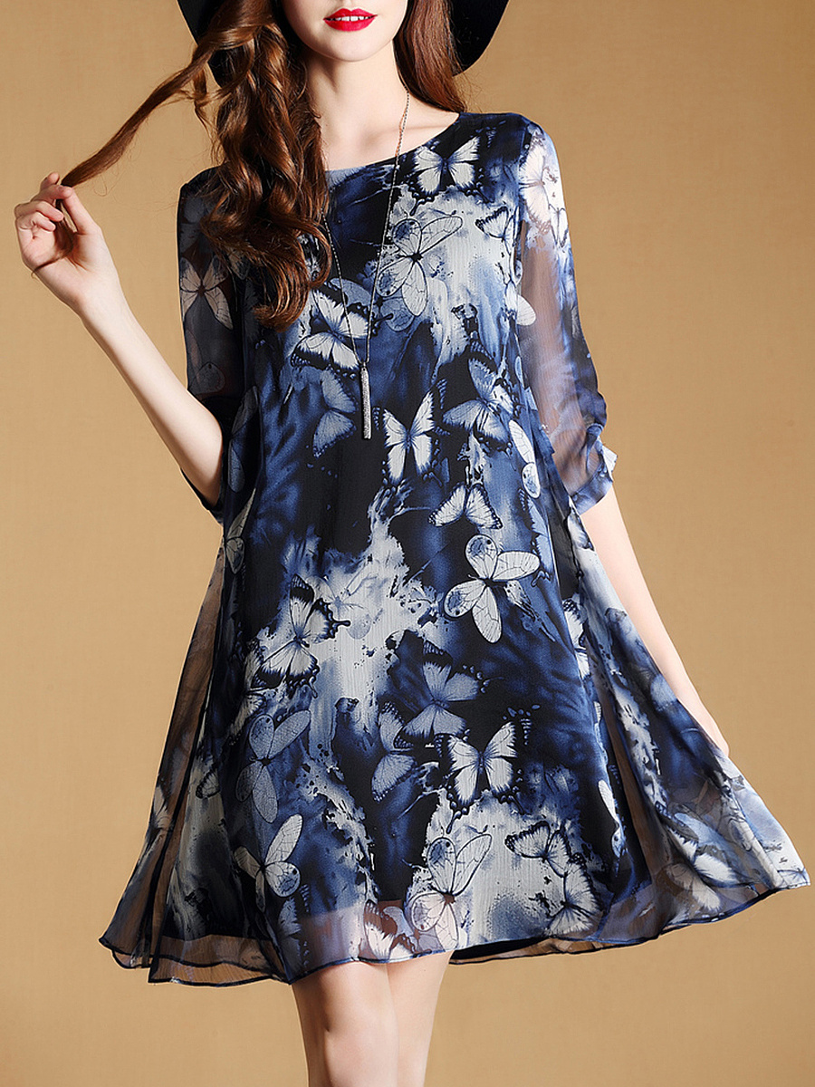 Round Neck Butterfly Hollow Out Chiffon Shift Dress