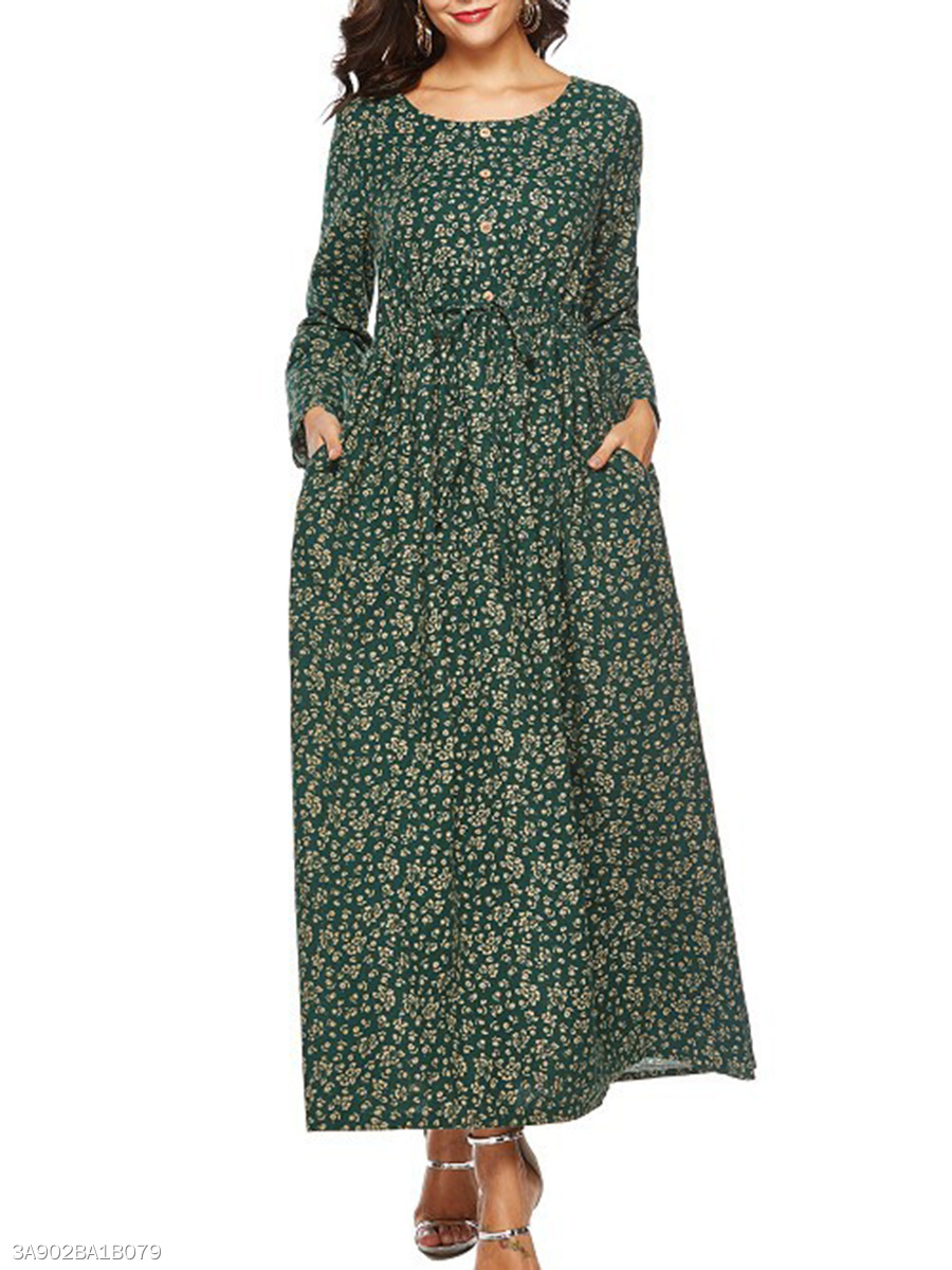 Round Neck  Drawstring  Casual Printed Maxi Dress