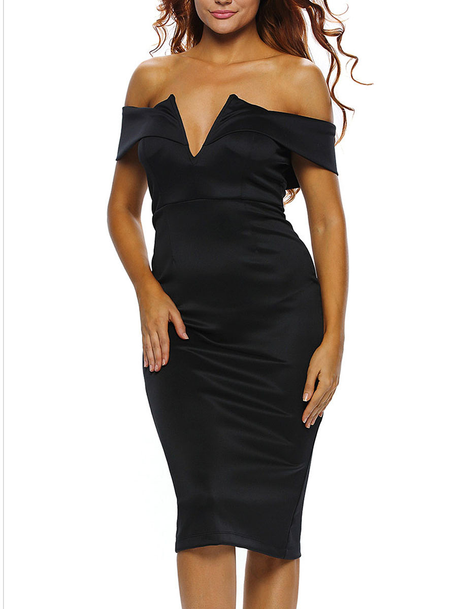 Off Shoulder Plain Slit Midi Bodycon Dress