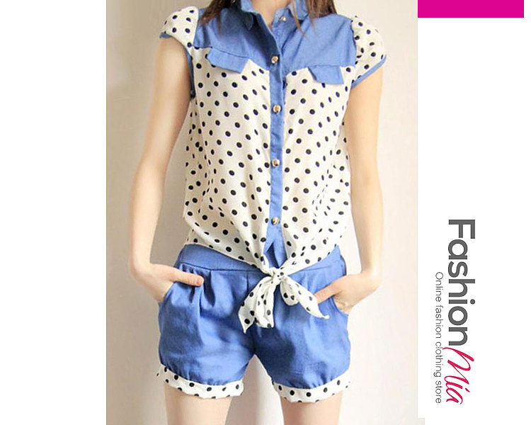 Summer  Cotton  Women  Turn Down Collar  Single Breasted  Polka Dot  Short Sleeve Blouses