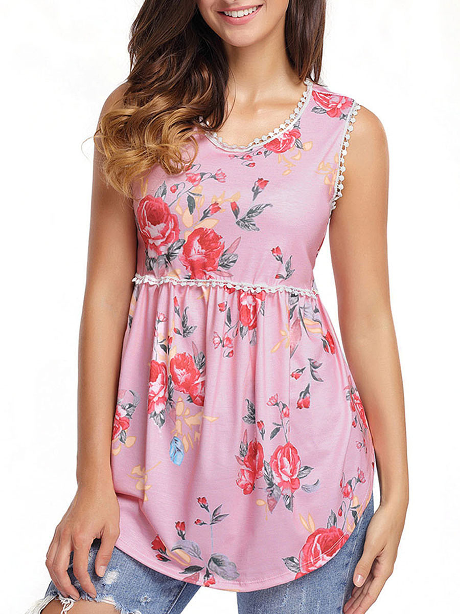 Round Neck Sleeveless T-Shirt In Floral Printed