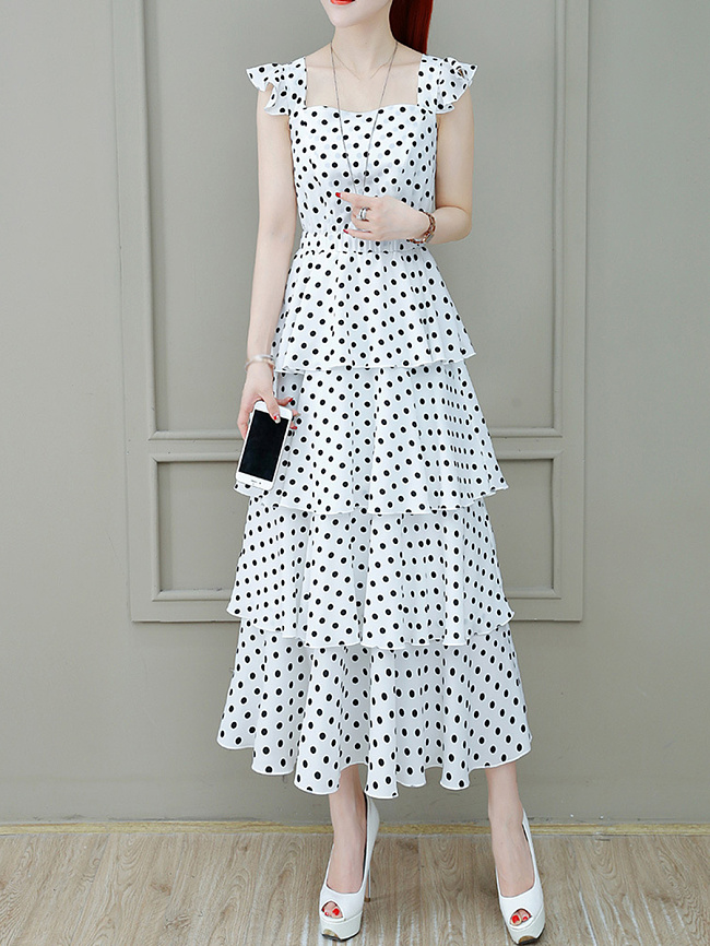 Image of Fashionmia Boat Neck Elastic Waist Polka Dot Printed Maxi Dress
