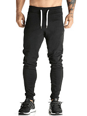 Plain-Elastic-Waist-Pocket-Slim-Leg-Mens-Sport-Pants