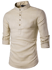 Band Collar Plain Roll-Up Sleeve Men Shirts