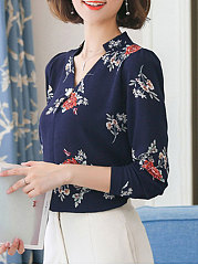 Autumn Spring  Polyester  Women  V-Neck  Decorative Button  Floral Printed Blouses