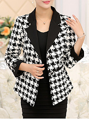 Notch Lapel  Houndstooth Printed  Long Sleeve Blazers