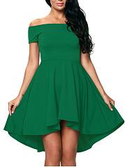 High-Low-Off-Shoulder-Solid-Skater-Dress