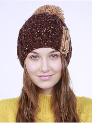 Color Block Knit Ball Thick Hat