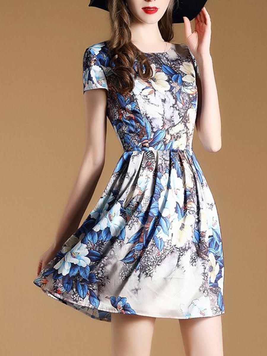 Round Neck Floral Printed Skater Dress. Round ...