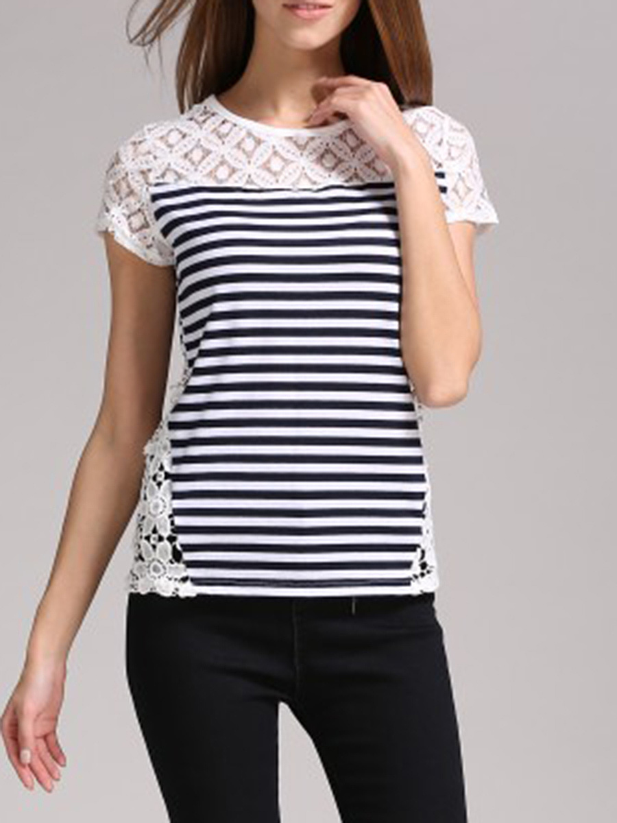Striped Hollow Out Patchwork Short Sleeve T-Shirt