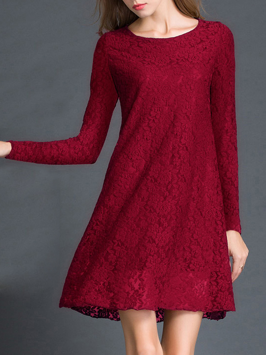 Round Neck  Hollow Out Plain  Lace Shift Dress