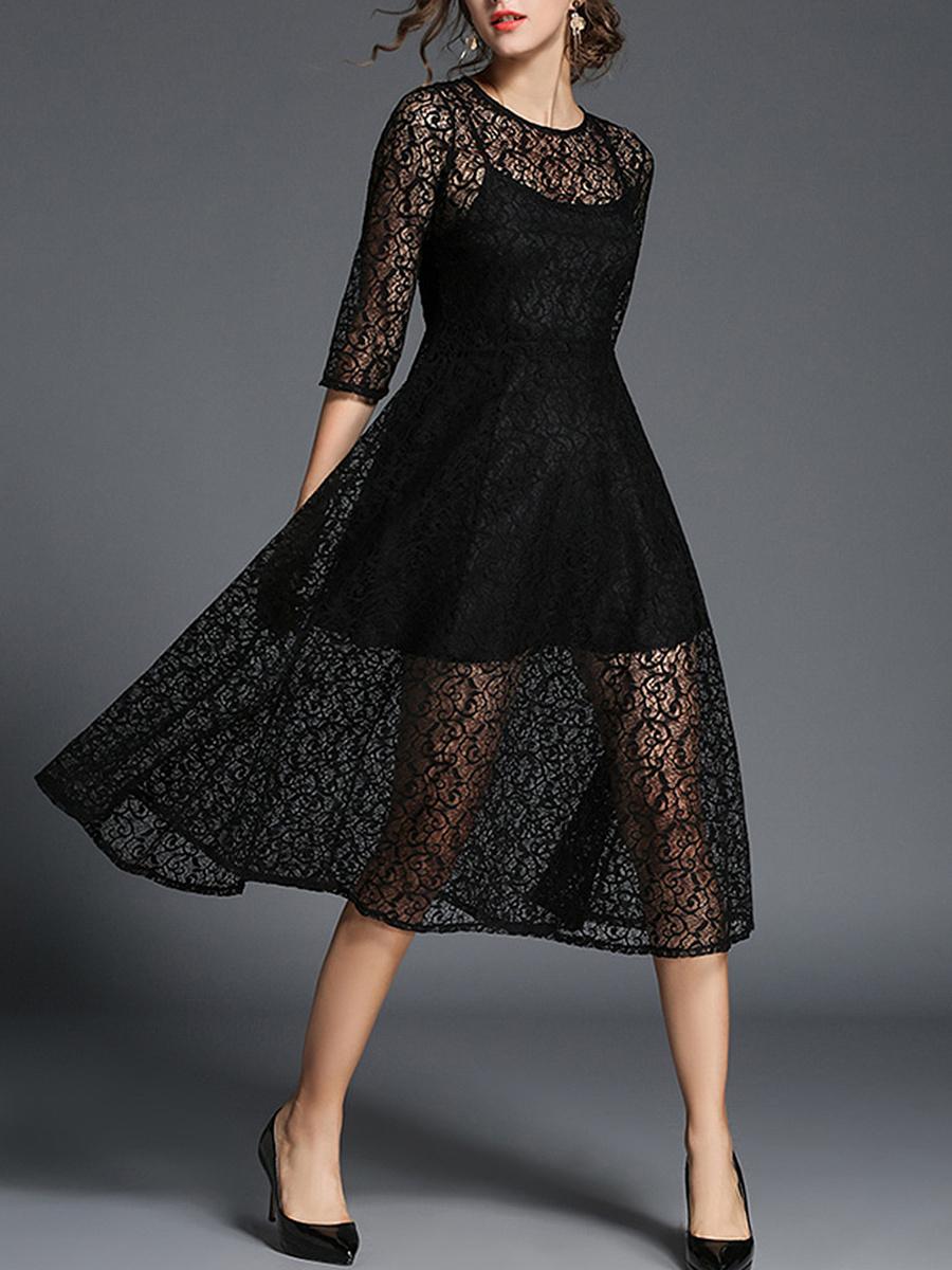 Round Neck See-Through Plain Lace Maxi Dress