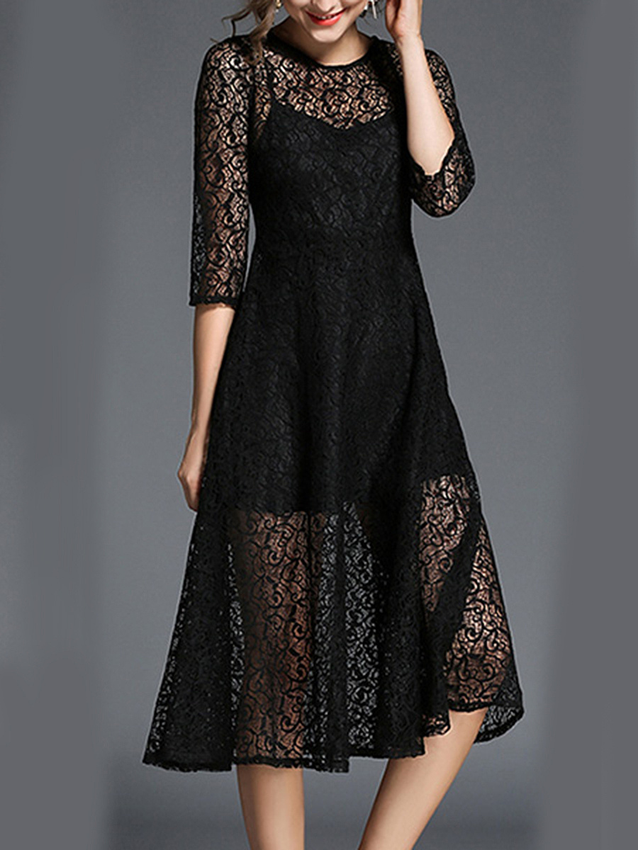 Round Neck See-Through Plain Lace Maxi Dress