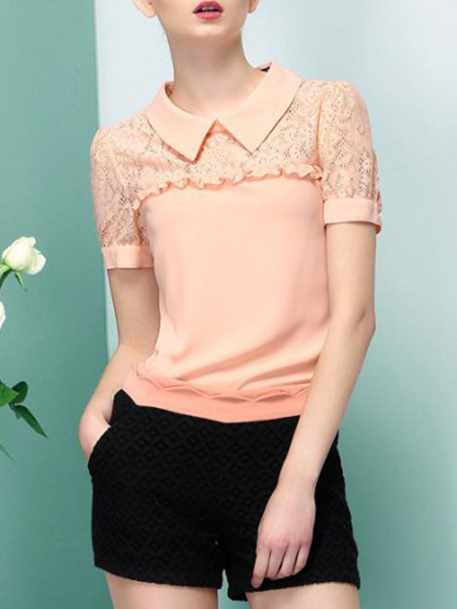 Summer  Polyester  Women  Doll Collar  Decorative Lace  Plain  Short Sleeve Blouses