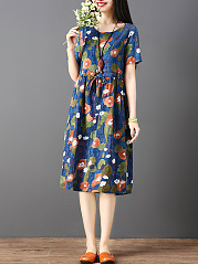 Round Neck  Drawstring  Linen Printed Shift Dress