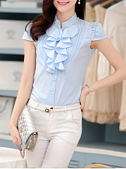 Band Collar  Beading Patchwork Single Breasted  Plain Short Sleeve T-Shirts