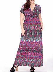 Deep-V-Neck-Tribal-Printed-Empire-Plus-Size-Maxi-Dress