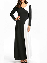 Round Neck Black White Color Block Evening Dress