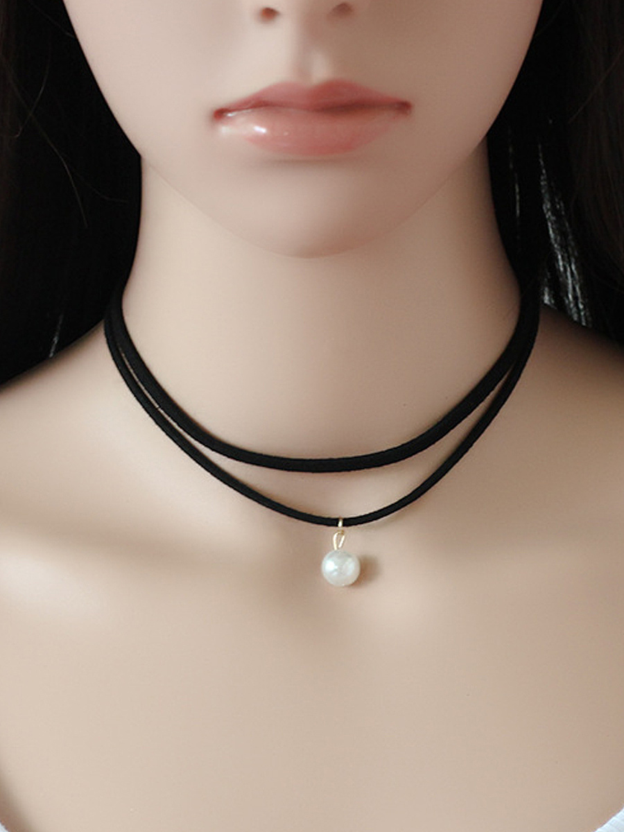 Pearl Pendant Layers Choker Necklace