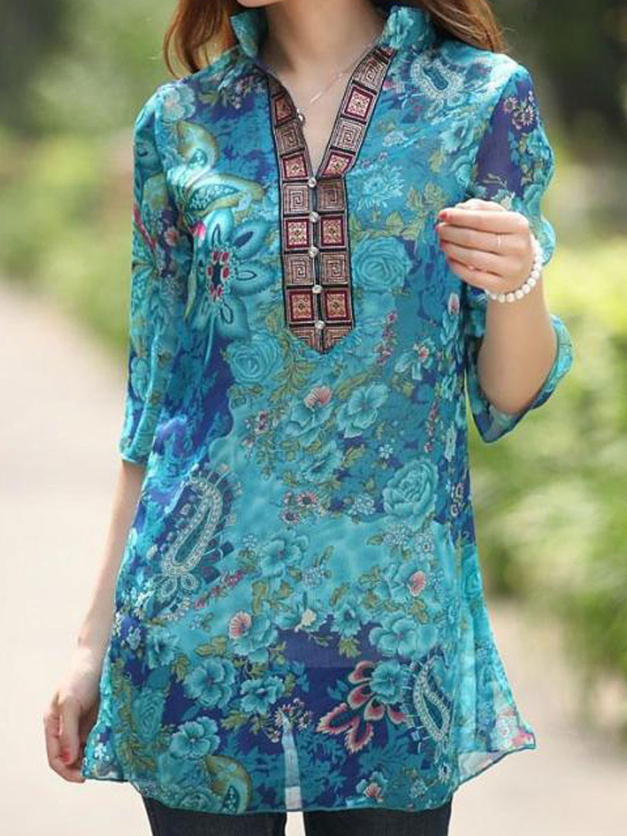 Split Neck  Hollow Out Tribal Printed Blouse