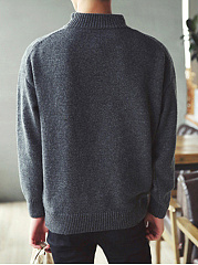 Men'S Solid High Neck Sweater