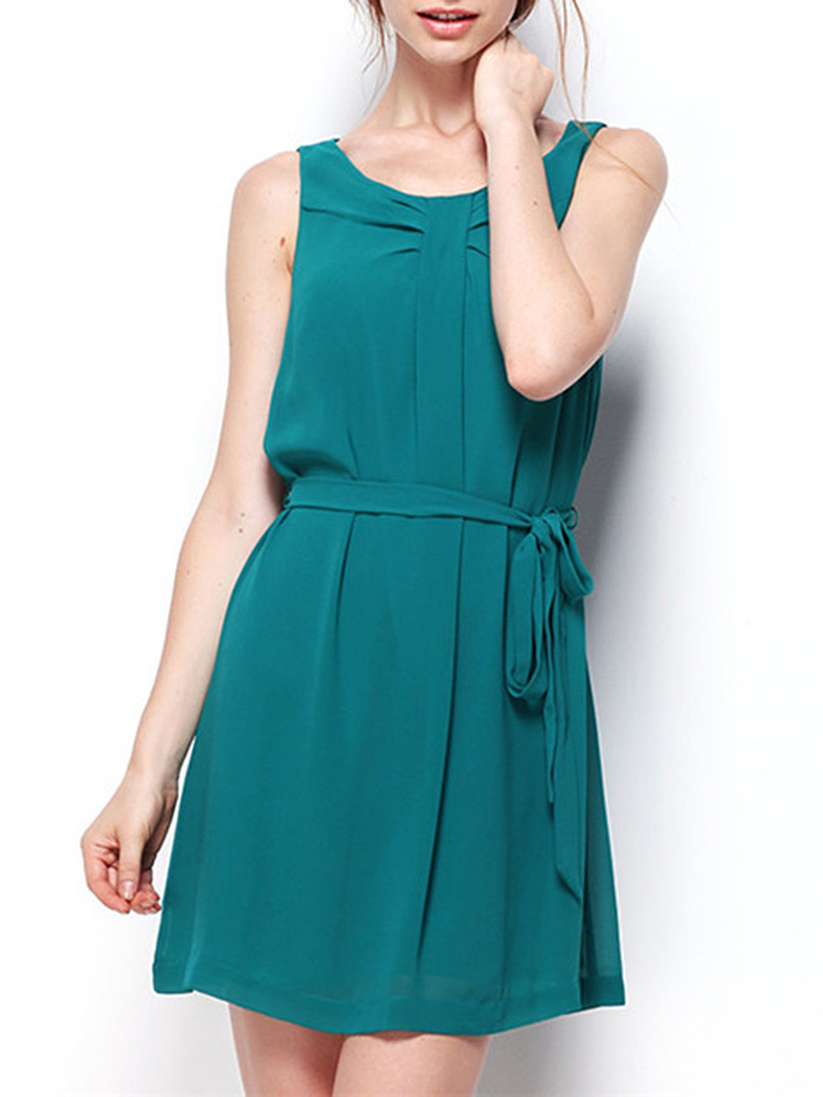 Round Neck Belt Plain Chiffon Skater Dress