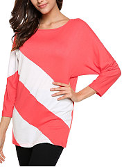 Autumn-Spring-Polyester-Women-Round-Neck-Patchwork-Plain-Batwing-Sleeve-Long-Sleeve-T-Shirts