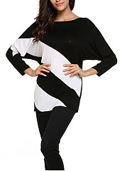 Autumn Spring  Polyester  Women  Round Neck  Patchwork  Plain  Batwing Sleeve Long Sleeve T-Shirts
