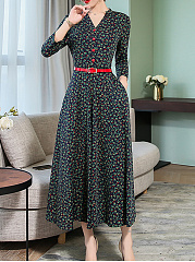 V Neck  Patch Pocket  Floral Printed Maxi Dress