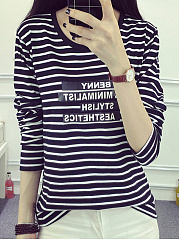 Autumn Spring  Polyester  Women  Round Neck  Letters Striped  Long Sleeve Long Sleeve T-Shirts