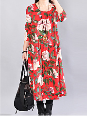 Round Neck Floral Printed Midi Shift Dress