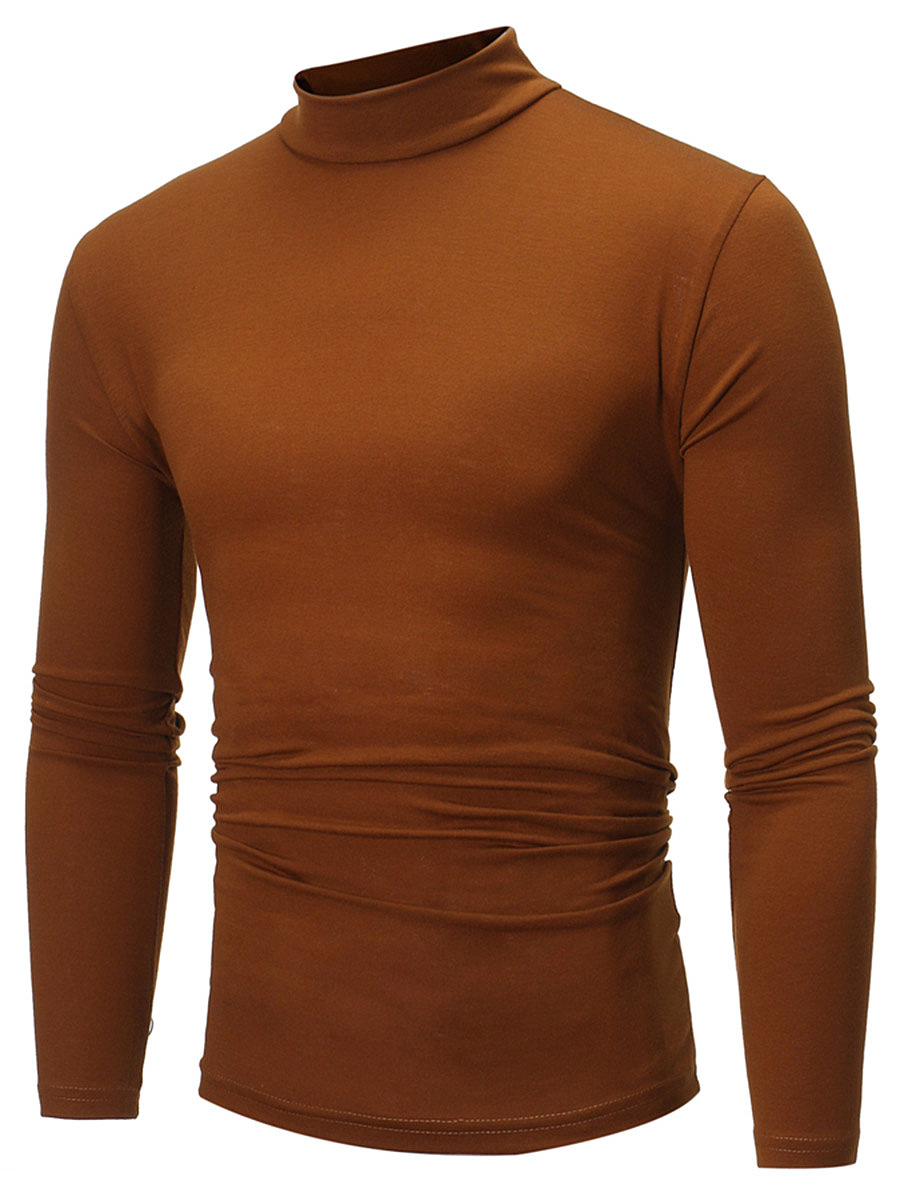 Basic High Neck Men Plain T-Shirt