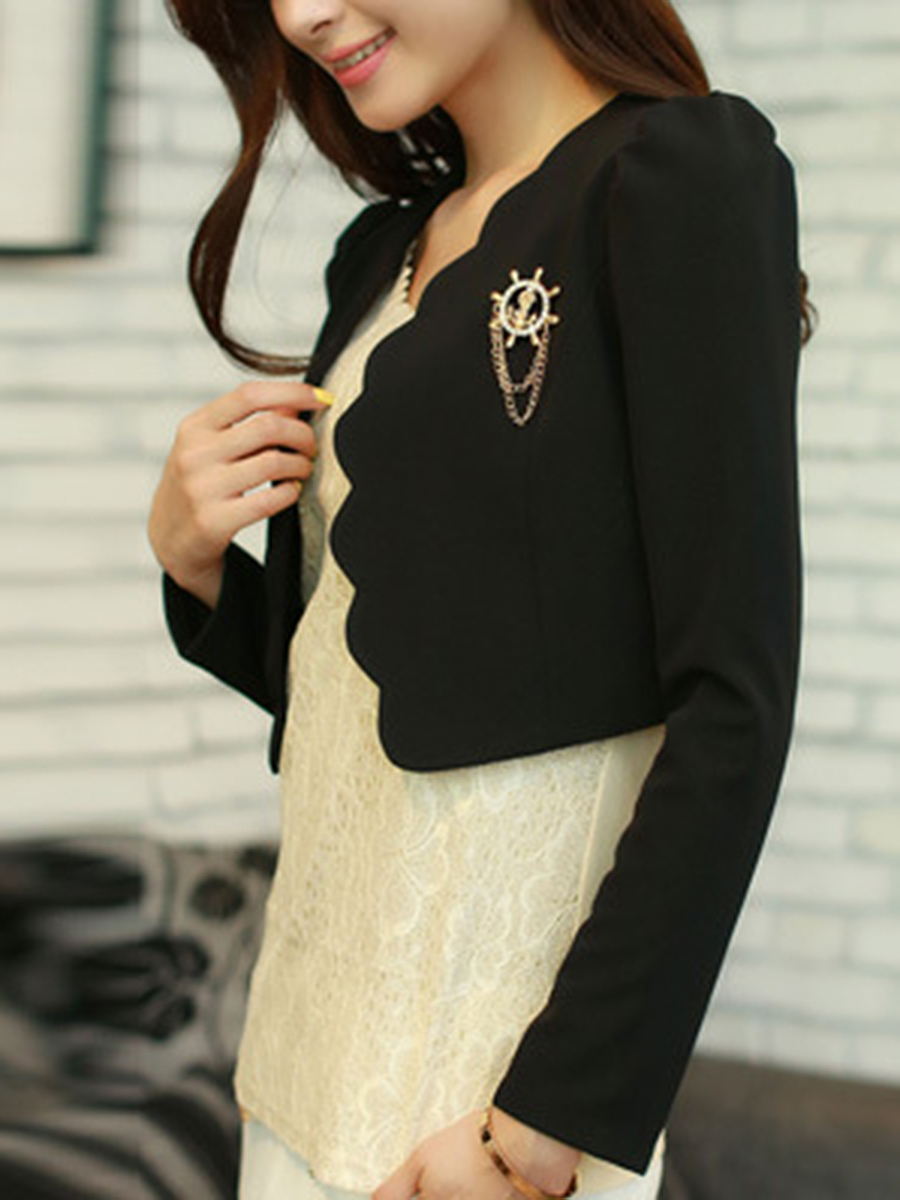 plain basic autumn spring casual Collarless  Plain  Long Sleeve Blazers