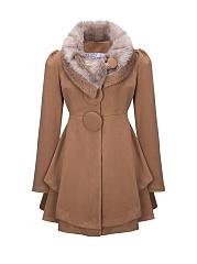 Faux-Fur-Collar-Diamante-Plain-Woolen-Swing-Coats