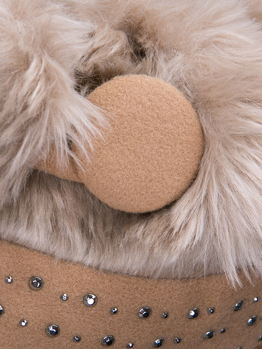 Faux Fur Collar  Diamante  Plain Woolen Swing Coats