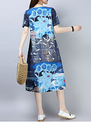 Cotton Round Neck  Printed Shift Dress