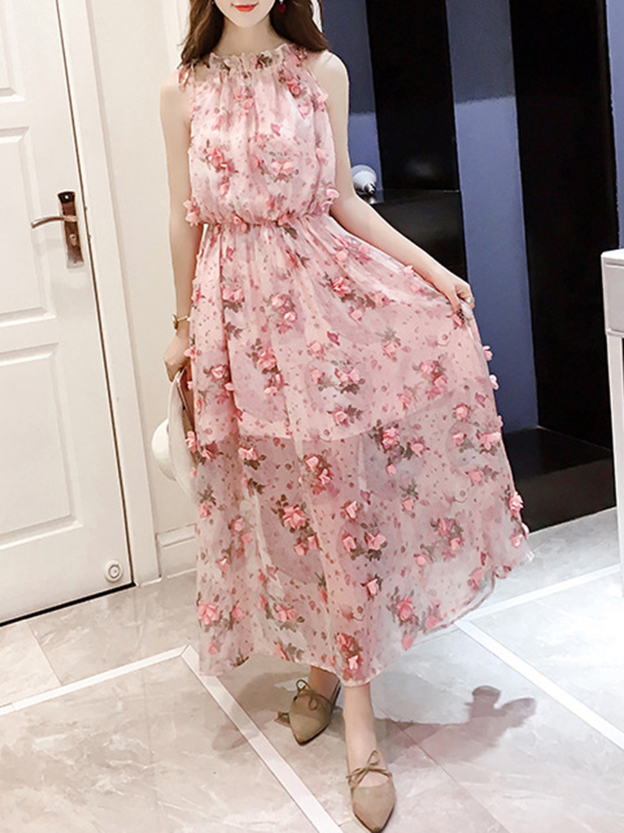 Flowy Floral Patch Hollow Out Chiffon Maxi Dress