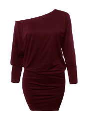 One Shoulder  Plain Plus Size Bodycon Dresses