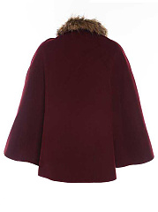 Double-Sided Woolen Fur Collar Cape Cloak