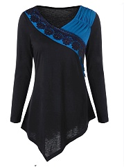 Autumn Spring  Cotton  V-Neck  Asymmetric Hem Decorative Lace Patchwork  Plain Long Sleeve T-Shirts